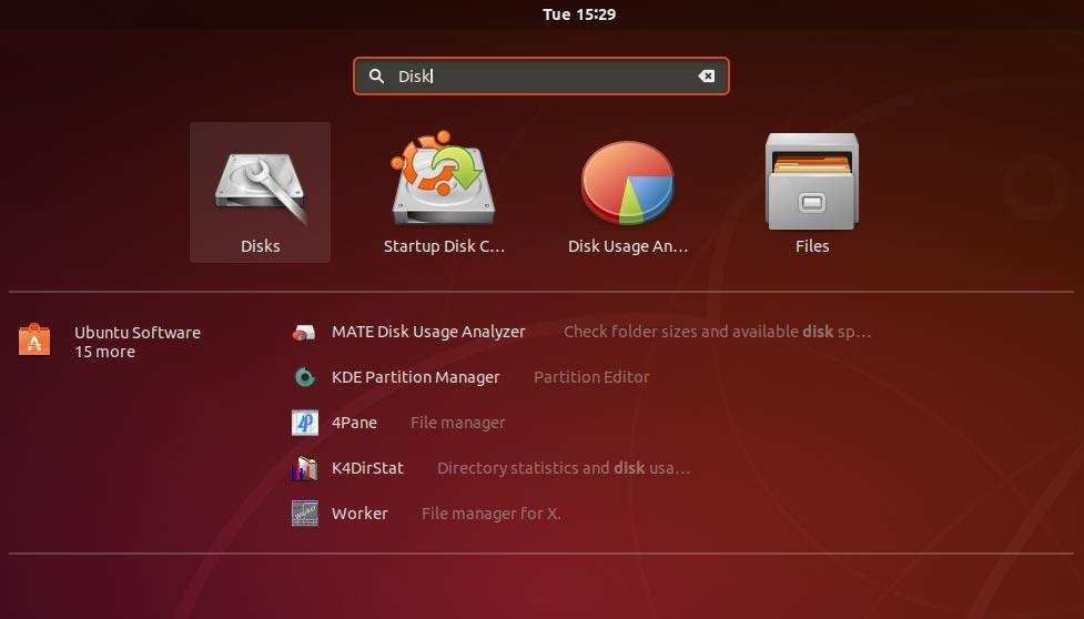Ubuntu 18.04 app search screen
