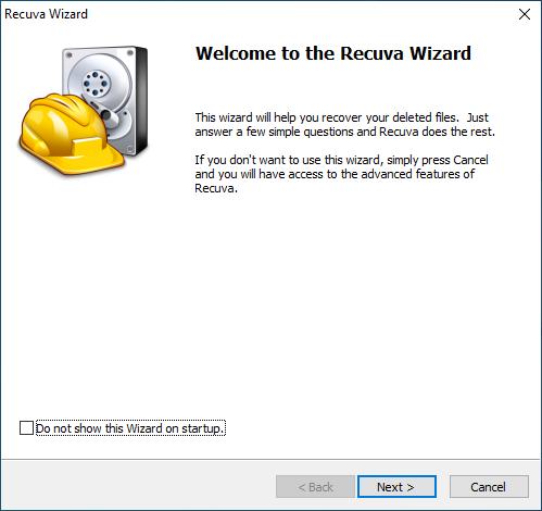 screenshot; Welcome to the Recuva Wizard