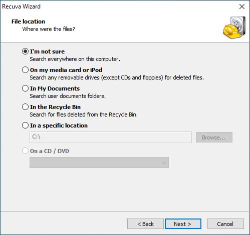 screenshot; selecting file location on Recuva Wizard