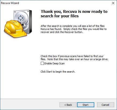 screenshot; Recuva Wizard is ready to scan