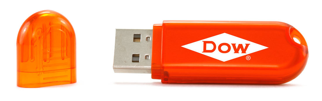 USB flash drive branded with company logo
