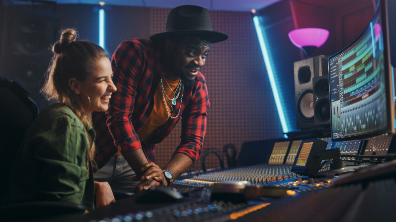 artists making music in the studio