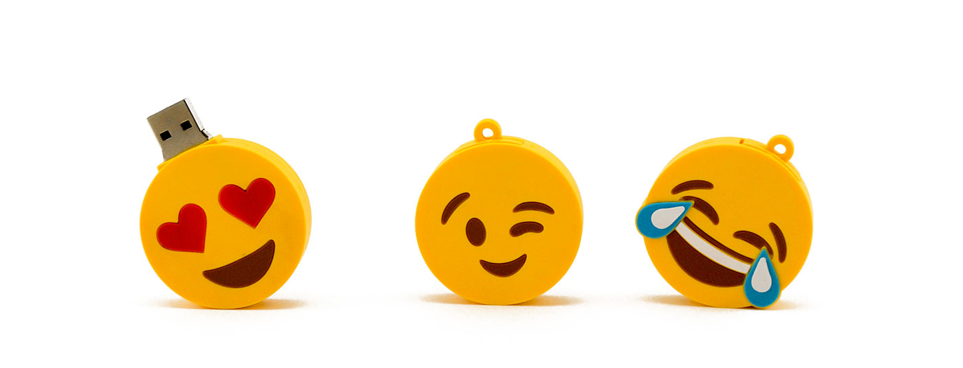 Emoji Usb Drives Lined Up Opened