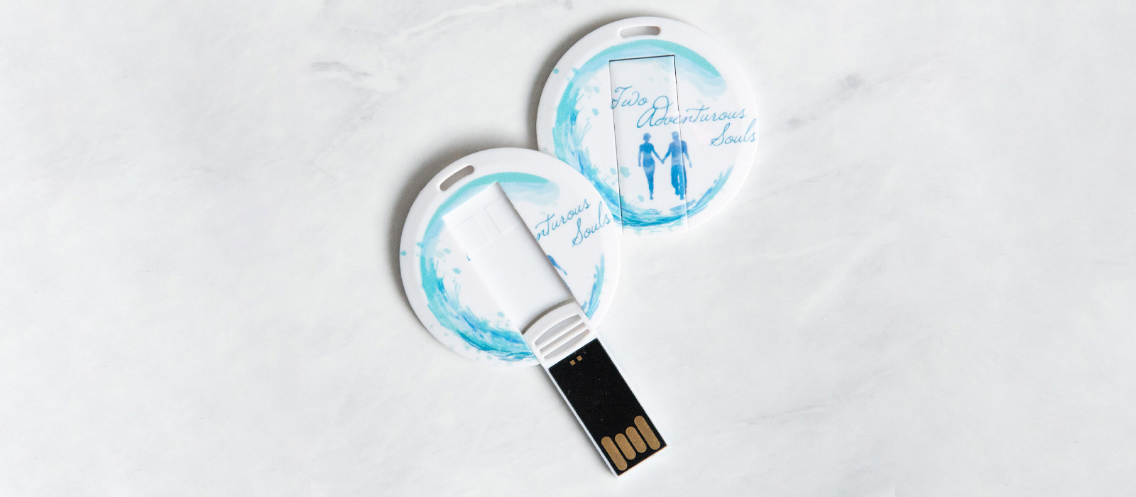 Two Adventurous Souls Round Card-flip Flash Drives 2